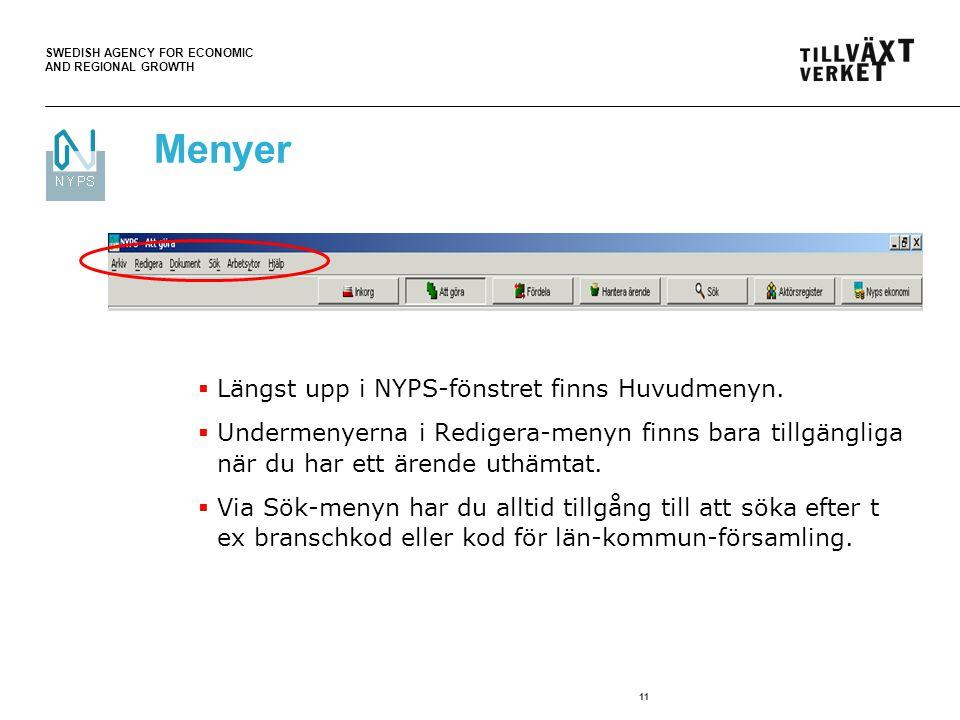 Menyer Längst upp i NYPS-fönstret finns Huvudmenyn.