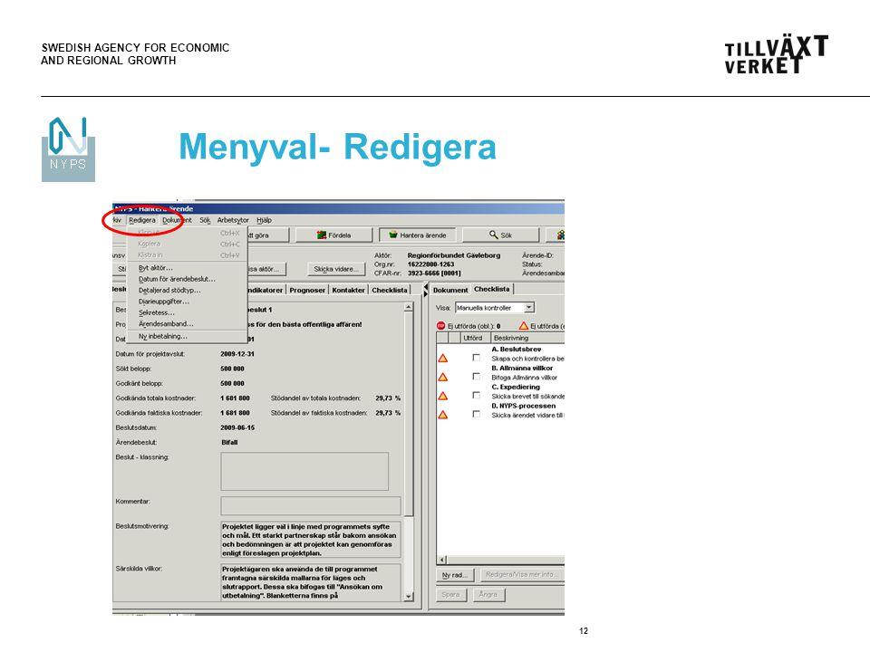 Menyval- Redigera