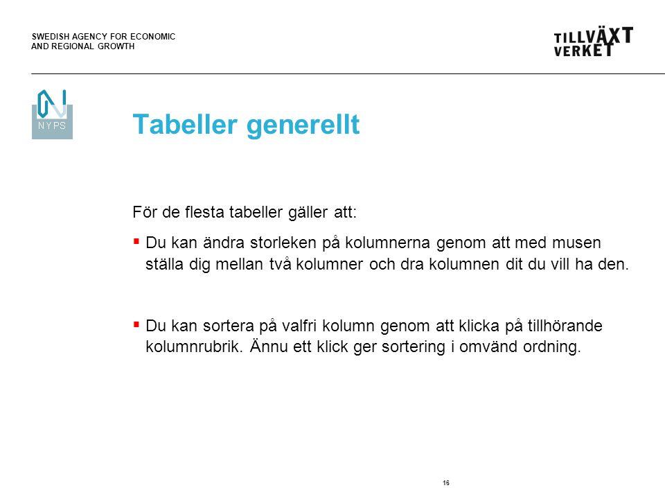 Tabeller generellt För de flesta tabeller gäller att: