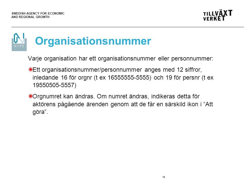 Organisationsnummer Varje organisation har ett organisationsnummer eller personnummer: