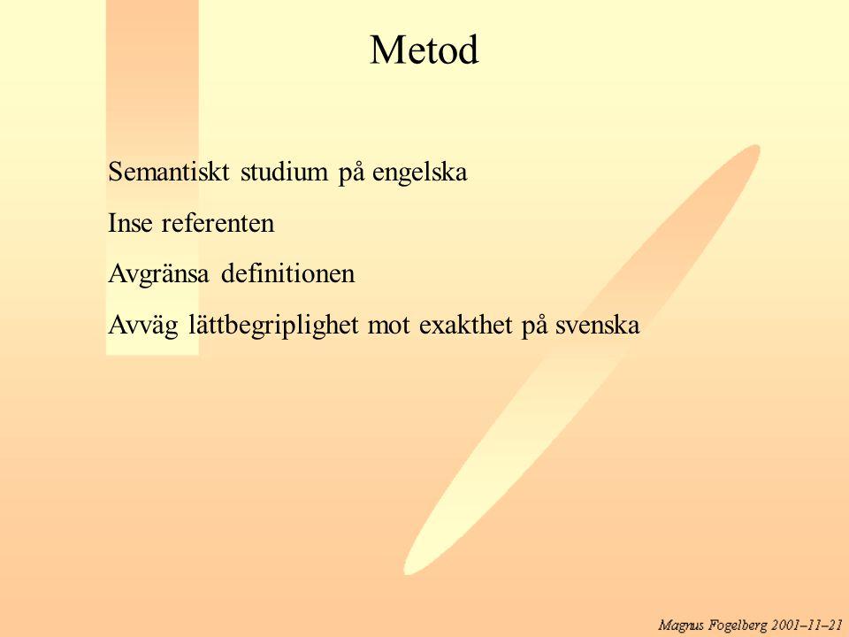 Metod Semantiskt studium på engelska Inse referenten