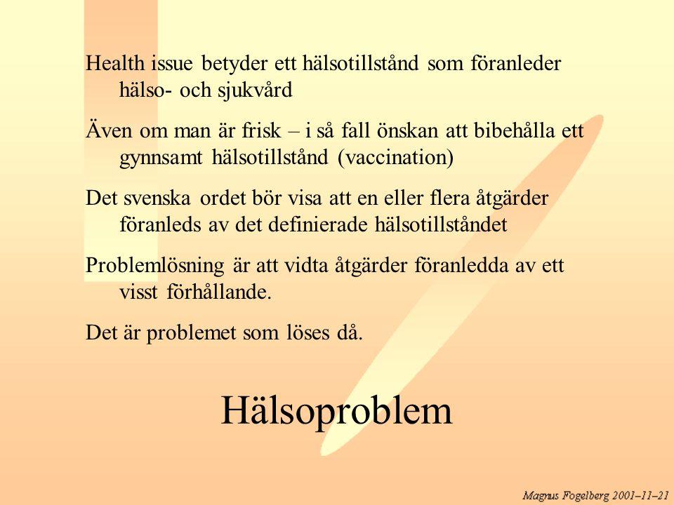Health issue betyder ett hälsotillstånd som föranleder hälso- och sjukvård