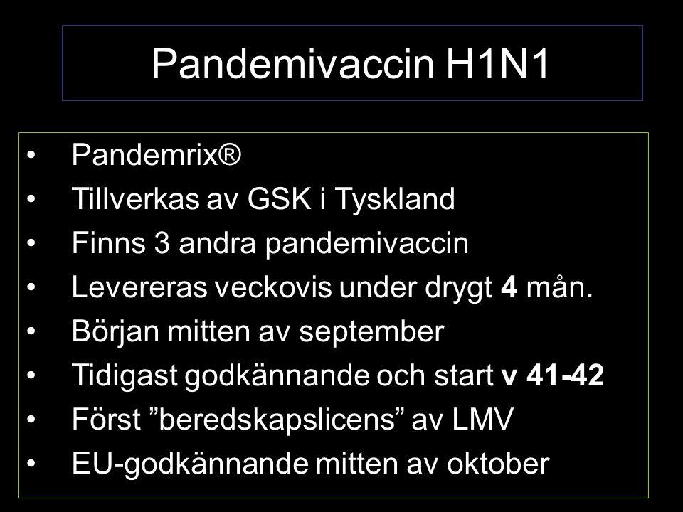 Pandemivaccin H1N1 Pandemrix® Tillverkas av GSK i Tyskland