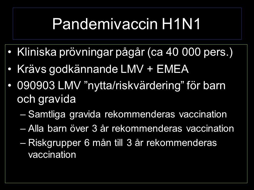 Pandemivaccin H1N1 Kliniska prövningar pågår (ca 40 000 pers.)