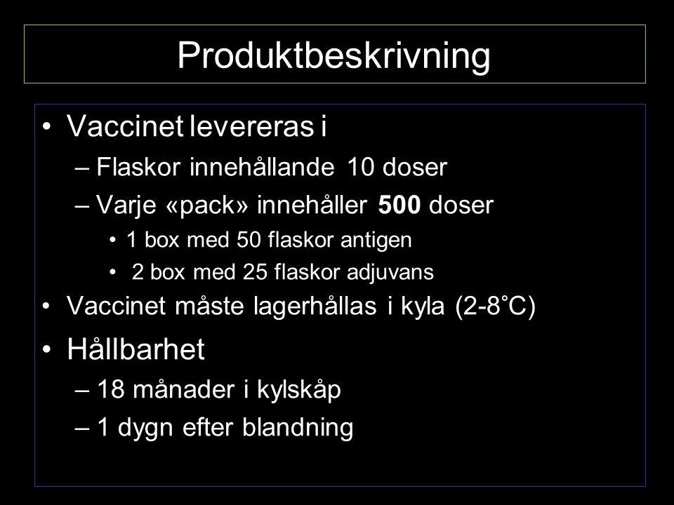 Produktbeskrivning Vaccinet levereras i Hållbarhet