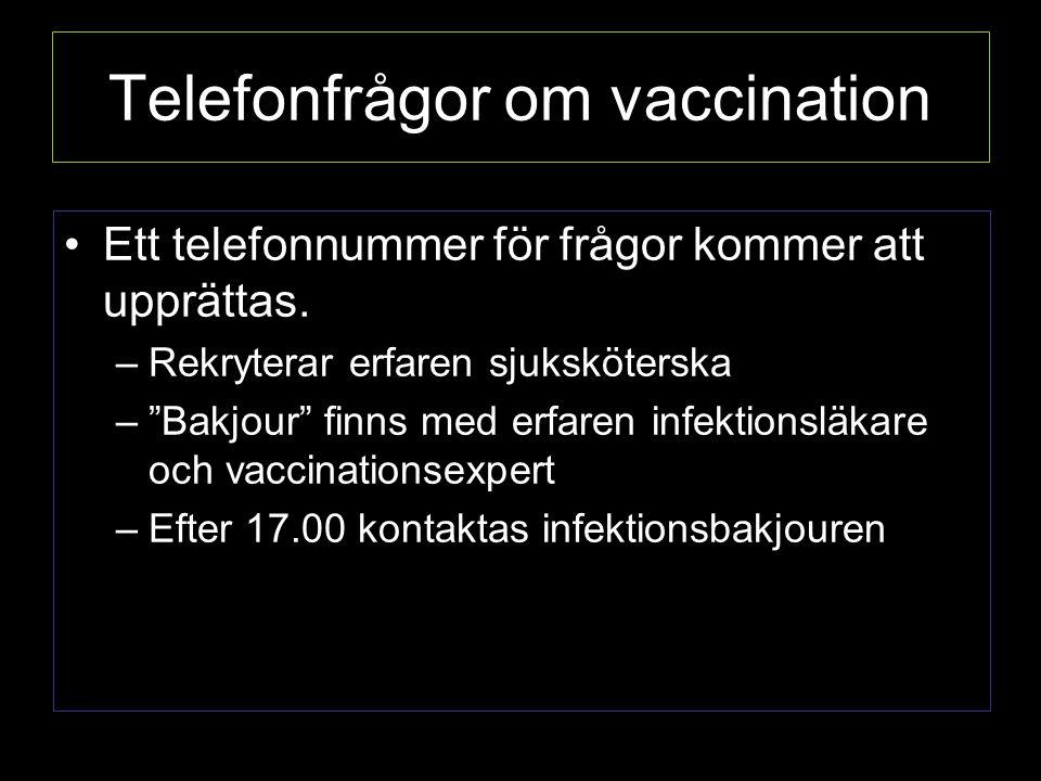 Telefonfrågor om vaccination