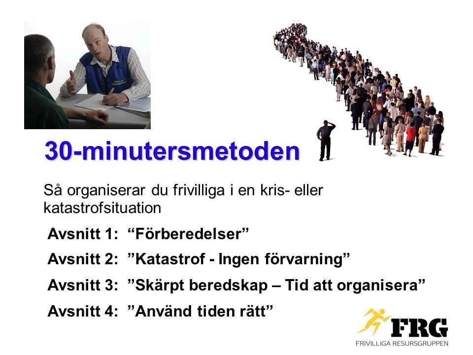 30-minutersmetoden Så organiserar du frivilliga i en kris- eller katastrofsituation. Avsnitt 1: Förberedelser