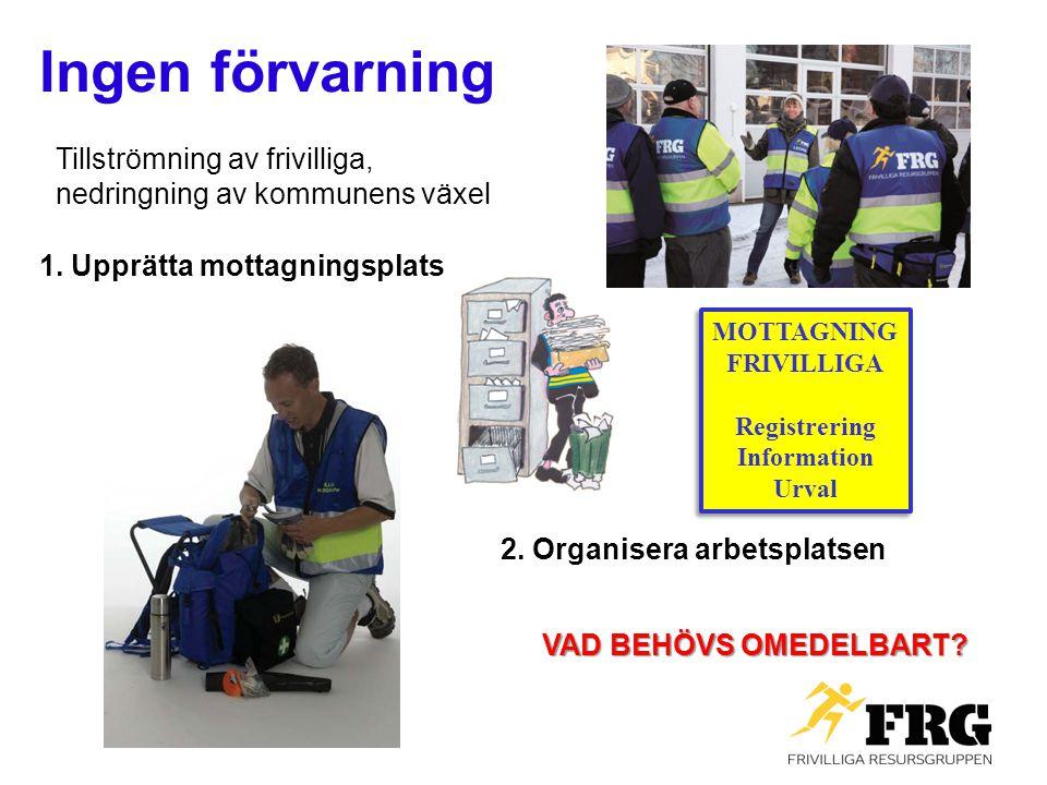 MOTTAGNING FRIVILLIGA Registrering Information Urval