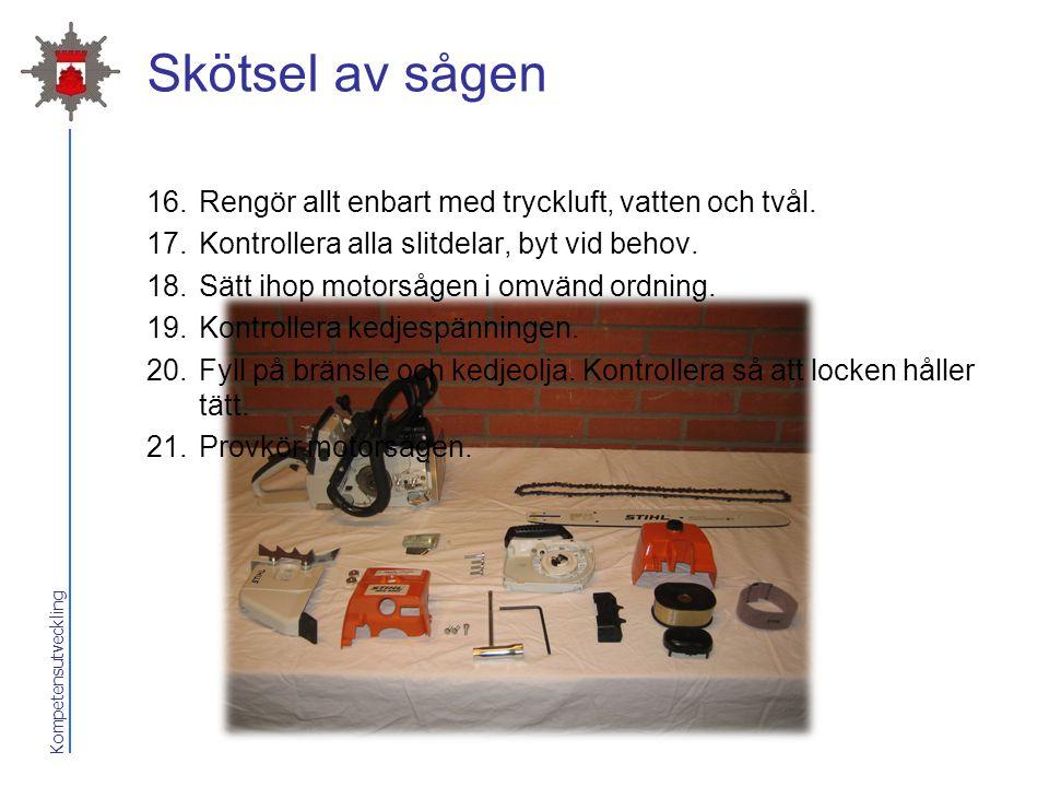 Skötsel av sågen Rengör allt enbart med tryckluft, vatten och tvål.
