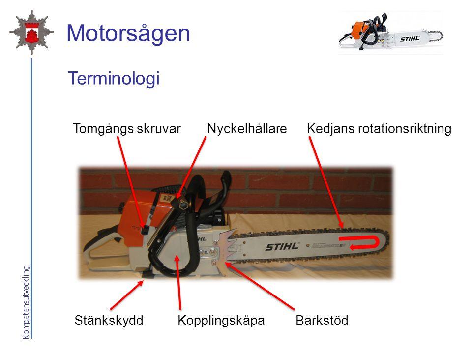 Motorsågen Terminologi Tomgångs skruvar Nyckelhållare