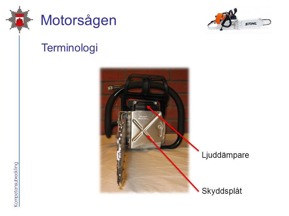 Motorsågen Terminologi Ljuddämpare Skyddsplåt