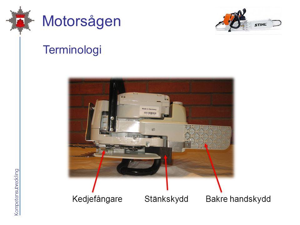 Motorsågen Terminologi Kedjefångare Stänkskydd Bakre handskydd