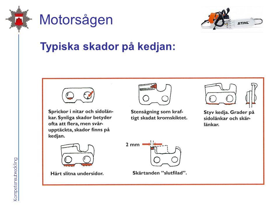 Motorsågen Typiska skador på kedjan: 2017-04-07