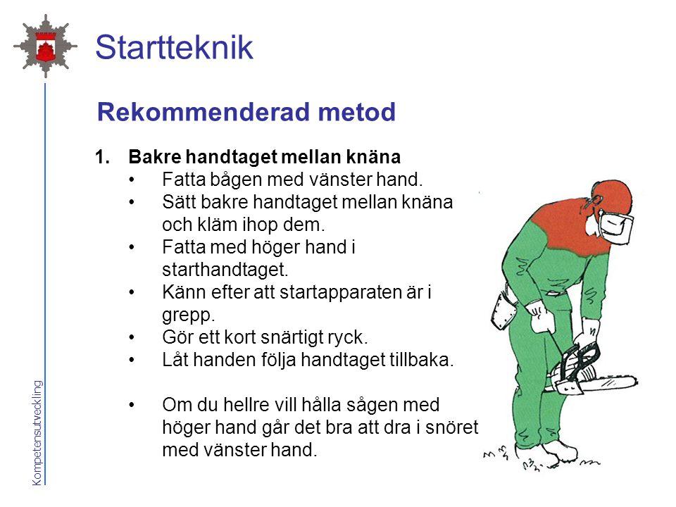 Startteknik Rekommenderad metod Bakre handtaget mellan knäna