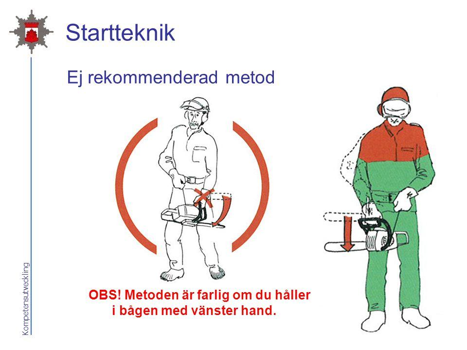 Startteknik Ej rekommenderad metod Med sågen i handen