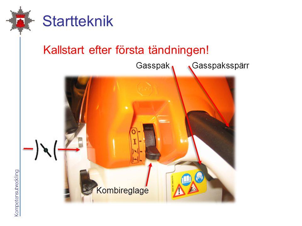 Startteknik Kallstart efter första tändningen! Gasspak Gasspaksspärr