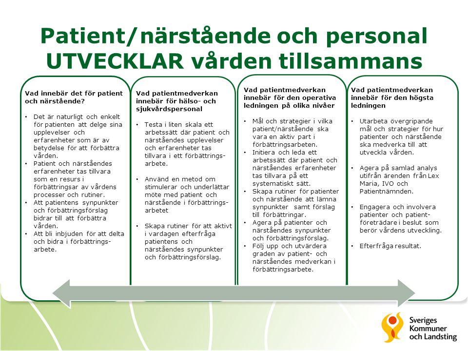 Patient/närstående och personal UTVECKLAR vården tillsammans