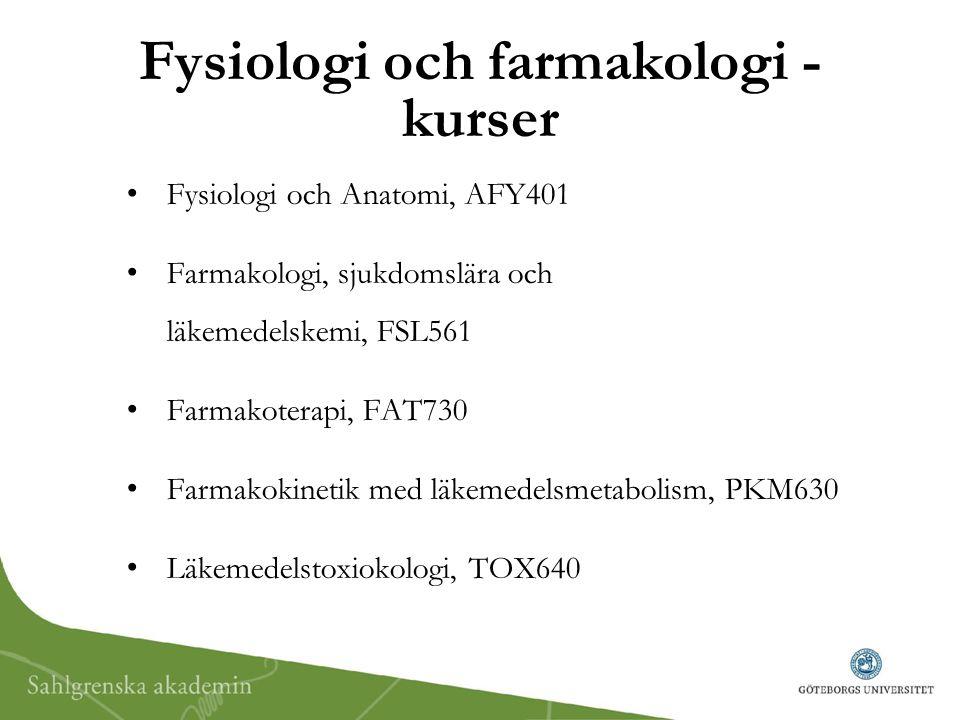 Fysiologi och farmakologi - kurser