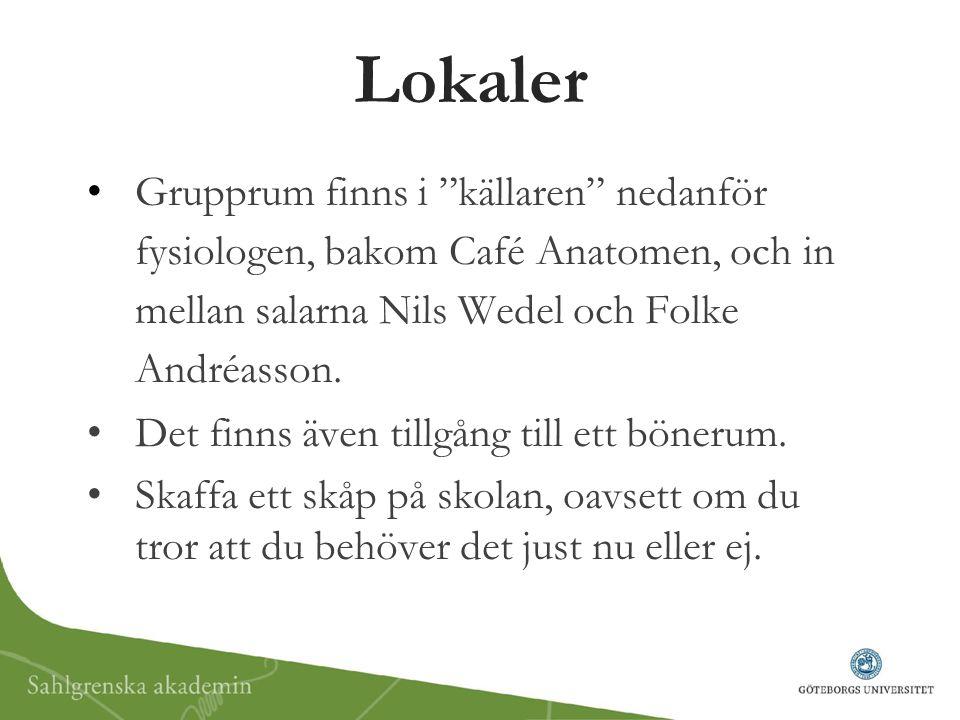 Lokaler Grupprum finns i källaren nedanför fysiologen, bakom Café Anatomen, och in mellan salarna Nils Wedel och Folke Andréasson.