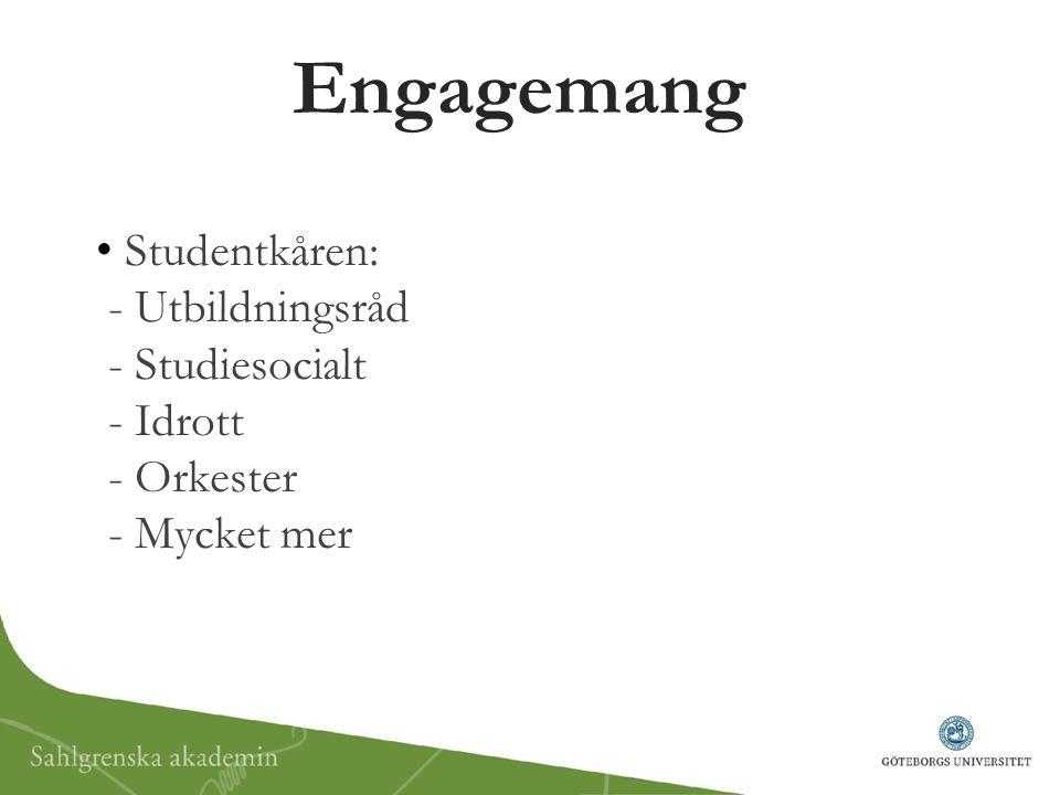 Engagemang Studentkåren: - Utbildningsråd - Studiesocialt - Idrott - Orkester - Mycket mer.