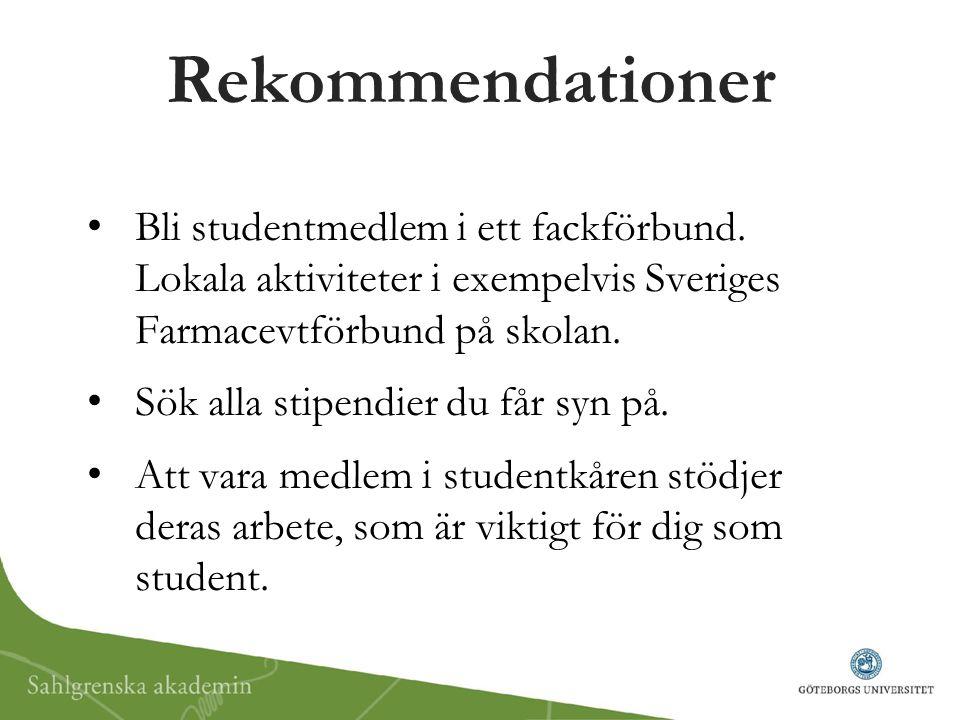 Rekommendationer Bli studentmedlem i ett fackförbund. Lokala aktiviteter i exempelvis Sveriges Farmacevtförbund på skolan.