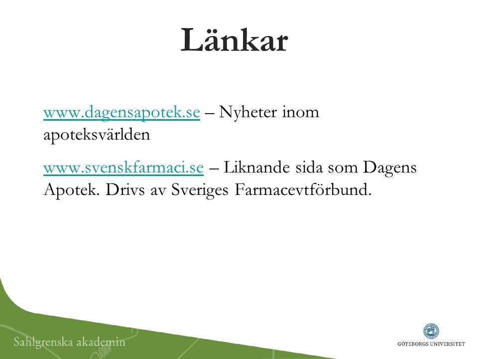 Länkar www.dagensapotek.se – Nyheter inom apoteksvärlden