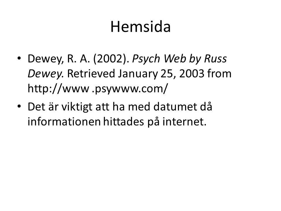 Hemsida Dewey, R. A. (2002). Psych Web by Russ Dewey. Retrieved January 25, 2003 from http://www .psywww.com/