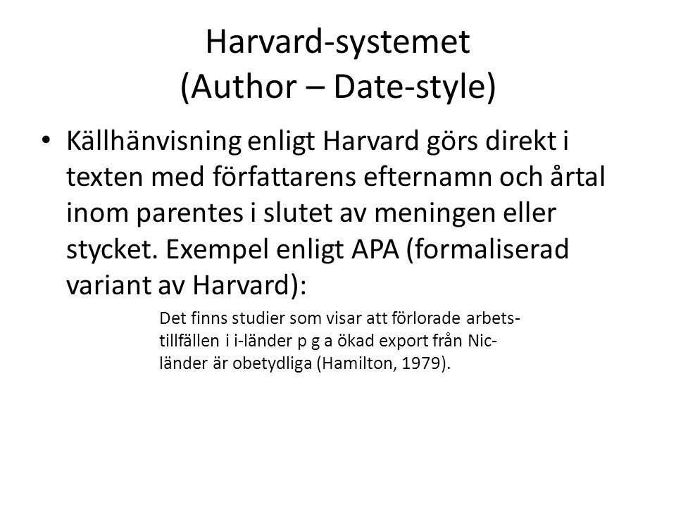 Harvard-systemet (Author – Date-style)