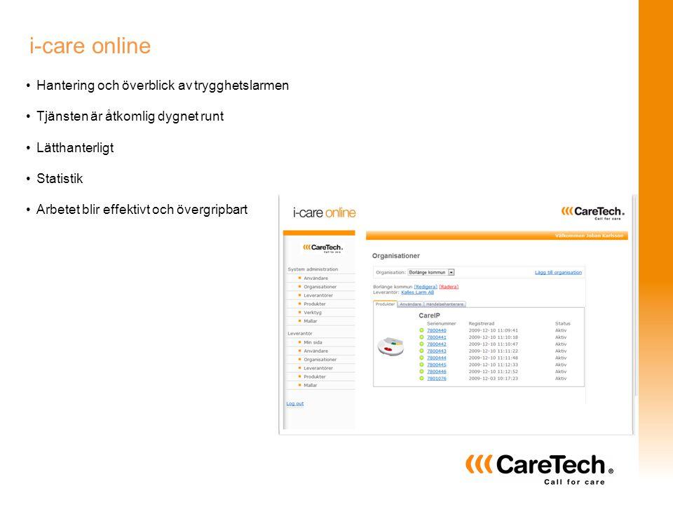 i-care online Hantering och överblick av trygghetslarmen