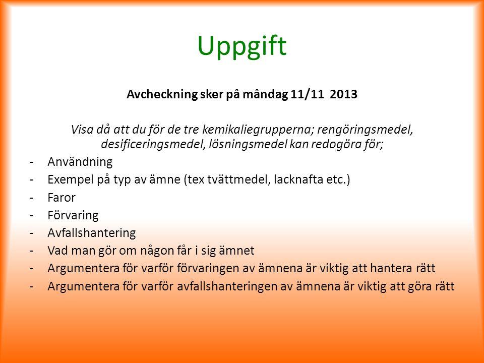 Avcheckning sker på måndag 11/11 2013