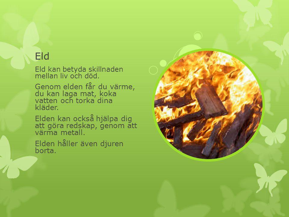Eld Eld kan betyda skillnaden mellan liv och död. Genom elden får du värme, du kan laga mat, koka vatten och torka dina kläder.