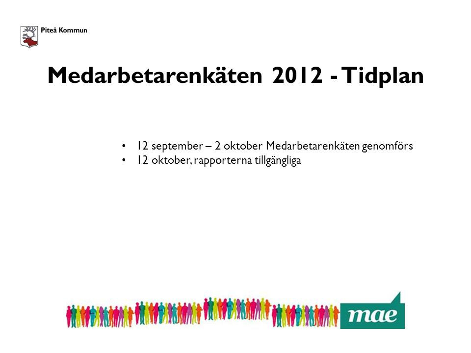 Medarbetarenkäten 2012 - Tidplan