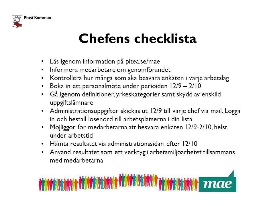 Chefens checklista Läs igenom information på pitea.se/mae