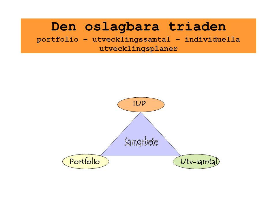 Den oslagbara triaden portfolio – utvecklingssamtal – individuella utvecklingsplaner
