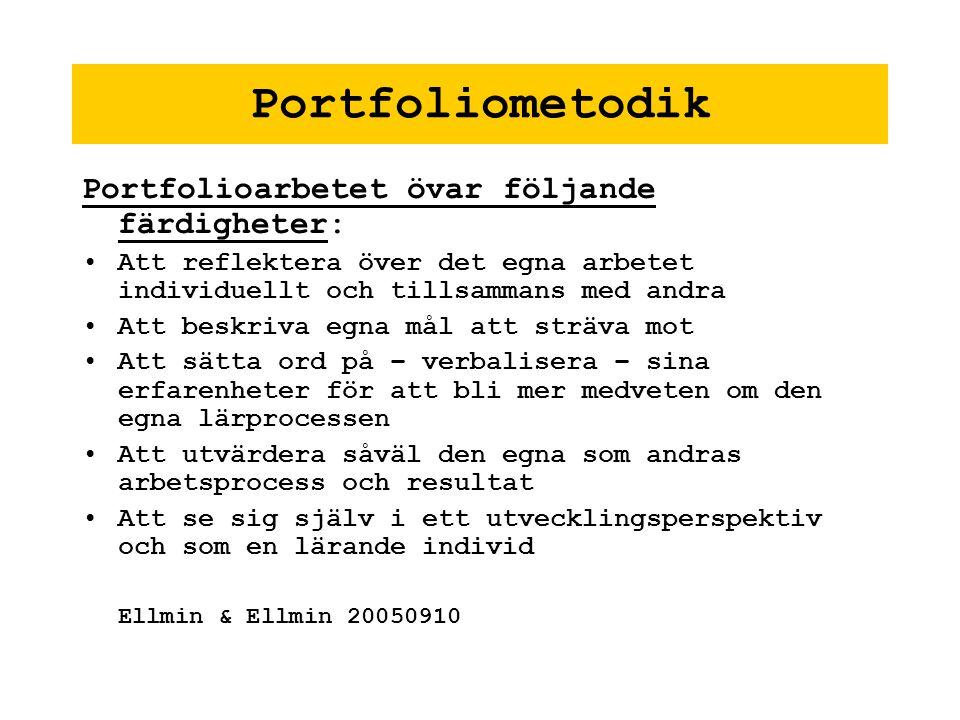 Portfoliometodik Portfolioarbetet övar följande färdigheter: