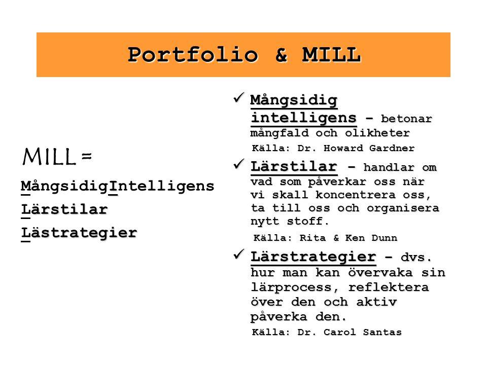 Portfolio & MILL Mångsidig intelligens – betonar mångfald och olikheter. Källa: Dr. Howard Gardner.