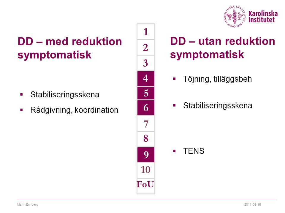 DD – utan reduktion symptomatisk