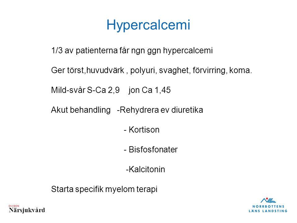 Hypercalcemi 1/3 av patienterna får ngn ggn hypercalcemi