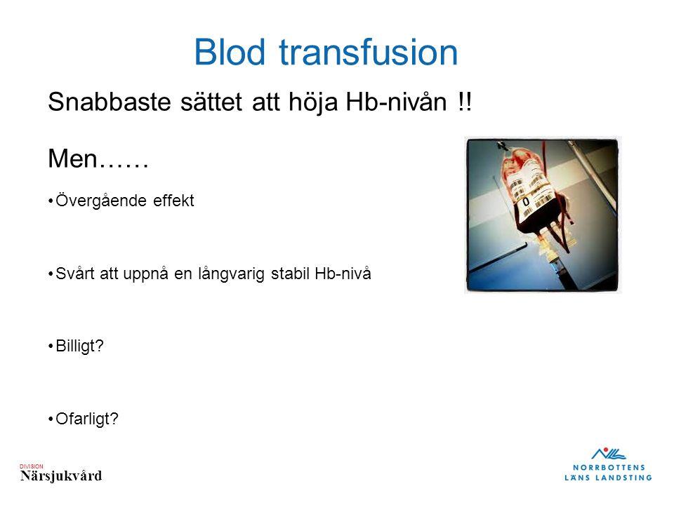 Blod transfusion Snabbaste sättet att höja Hb-nivån !! Men……