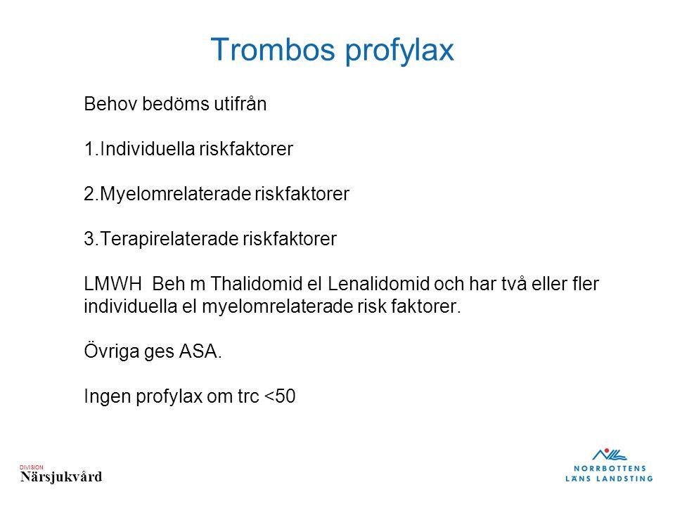 Trombos profylax Hedenus 2006 Behov bedöms utifrån