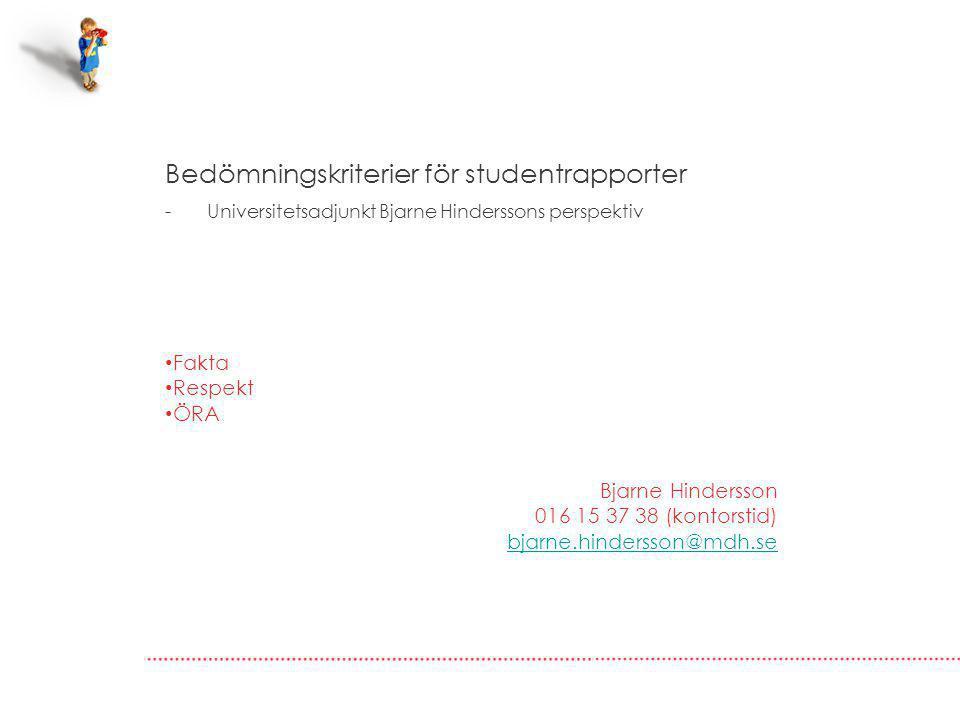 Bedömningskriterier för studentrapporter