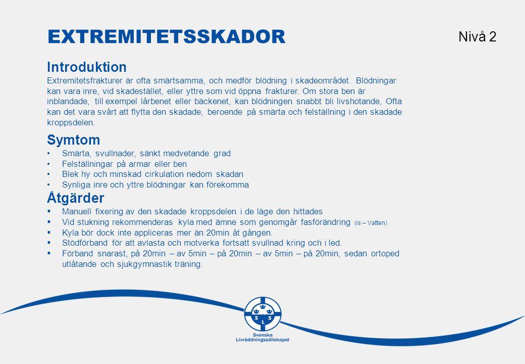 Extremitetsskador Nivå 2 Introduktion Symtom Åtgärder Riktlinjer