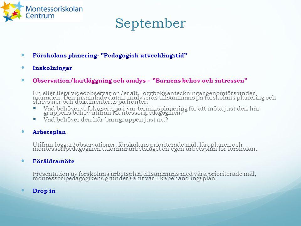 September Förskolans planering- Pedagogisk utvecklingstid