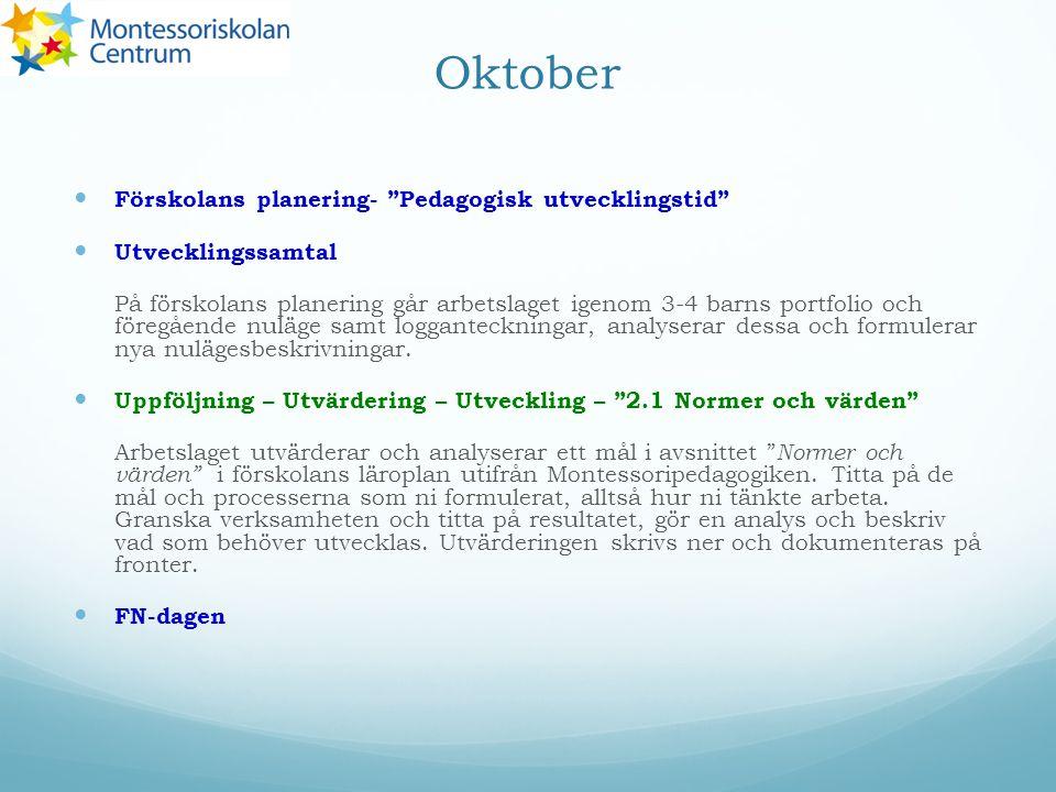 Oktober Förskolans planering- Pedagogisk utvecklingstid