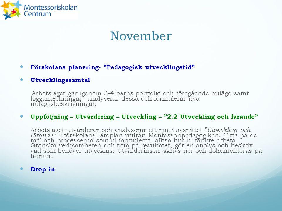 November Förskolans planering- Pedagogisk utvecklingstid