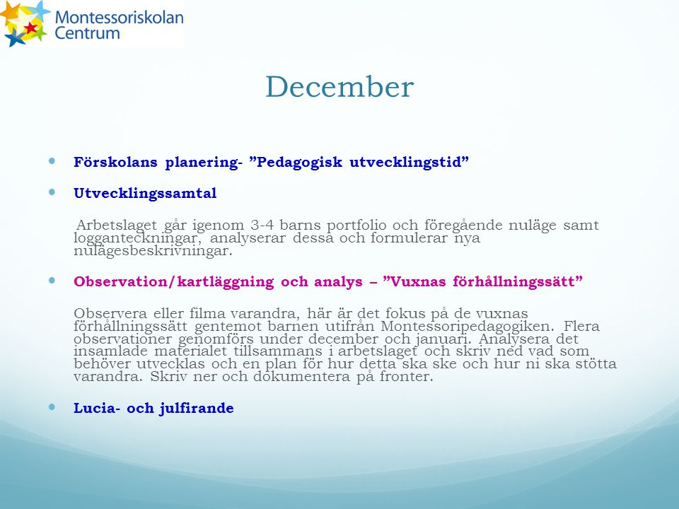 December Förskolans planering- Pedagogisk utvecklingstid