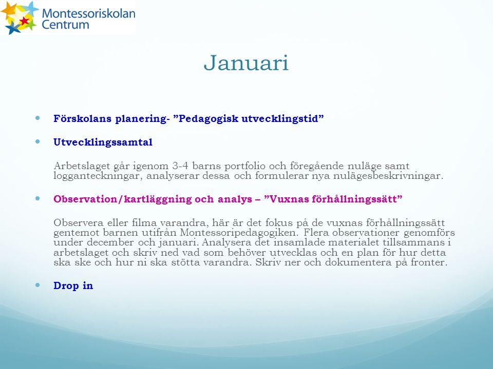 Januari Förskolans planering- Pedagogisk utvecklingstid