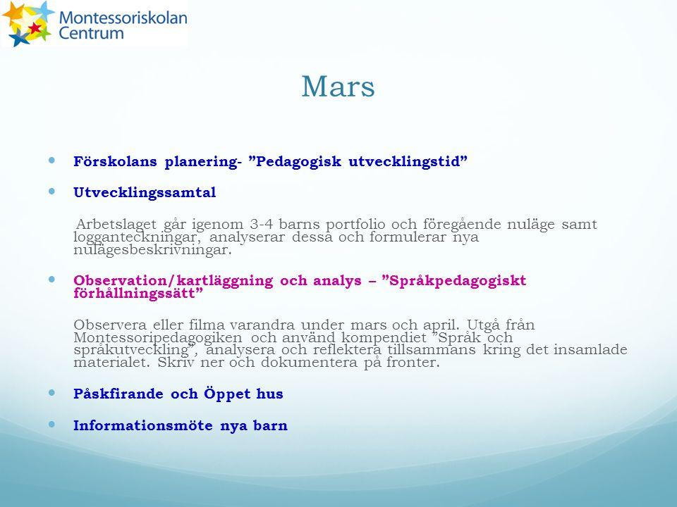 Mars Förskolans planering- Pedagogisk utvecklingstid