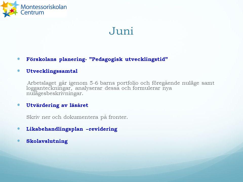Juni Förskolans planering- Pedagogisk utvecklingstid