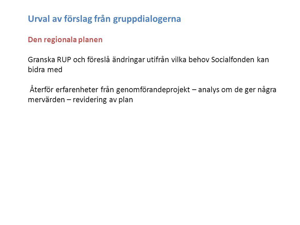 Urval av förslag från gruppdialogerna